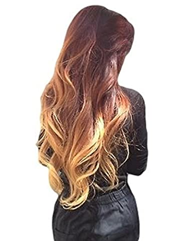 (NEW) REAL LOOK HAIR EXTENSION AMAZING STUNNING GINGER HONEY BLONDE MIX WAVY 24 INCH X LONG