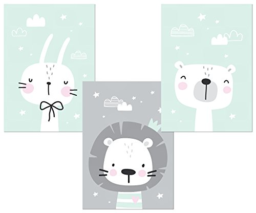 Kinderzimmer Deko - Poster Set 3x DIN A4 – Babyzimmer Deko Bilder Kinder Baby Mädchen Junge (mint 1)
