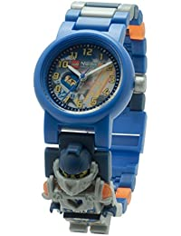 LEGO Nexo Knights Clay Kinder-Armbanduhr mit Minifigur und Gliederarmband zum Zusammenbauen | blau/orange | Kunststoff | Gehäusedurchmesser 28 mm | analoge Quarzuhr | Junge/ Mädchen | offiziell