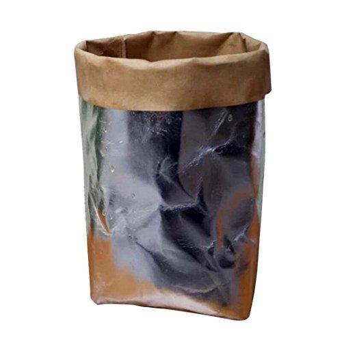 Igemy lavable Kraft Sac en papier pour plantes Pots de fleurs multifonction Sac de rangement de maison Réutilisez Pots de fleurs décoration de maison Silver
