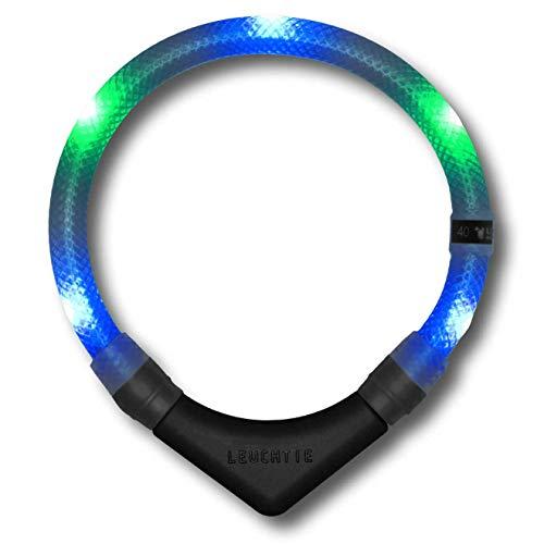 LEUCHTIE® Leuchthalsband Premium blau-grün Größe 50 I LED Halsband für Hunde I konstante Leuchtkraft I wasserdicht I extrem hell