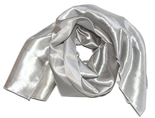 Scialle/sciarpa in raso per abito da sera o abito da sposa ca. 140 x 46cm un lato lucido retro lievemente opaco argento taglia unica