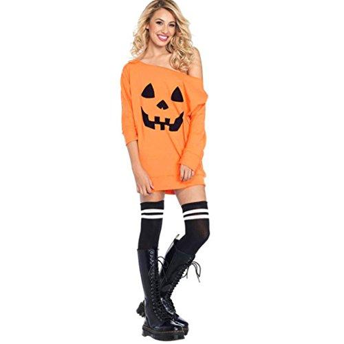 iches Halloween weg vom Schulter Hemd, fantastisches Muster Druck langes Hülsen beiläufiges Kleid (Orange, XL) (Xl Beach Club Halloween)