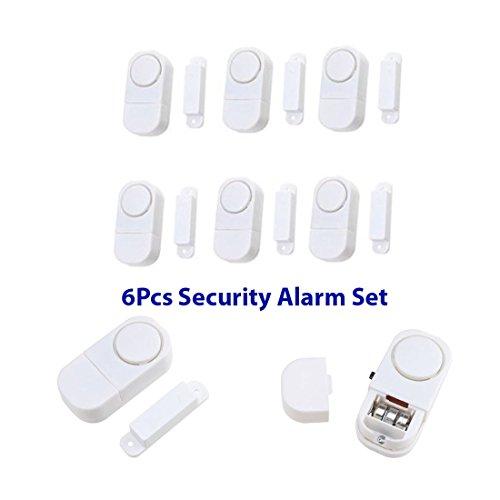 JJOnlineStore-6 adesivi suono, Wireless, per la sicurezza in casa, lost antifurto allarme antifurto per porte e finestre di sorveglianza allarme allarmi antifurto batterie incluse