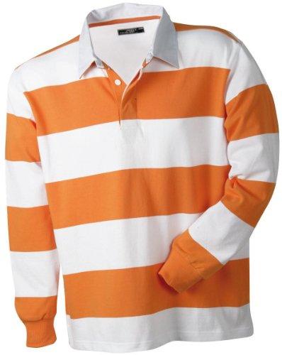 Herren Langarm Polo Shirt aus Heavy-Jersey im Rugby-Style, Farbe:orange/white;Größe:S