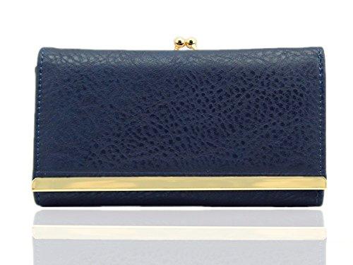 LeahWard® Damen Kunstleder Geldbörsen Brieftasche Münze Tasche Geldbörse Für Sie Kussverschluss Geldbörsen Marine Geldbörse