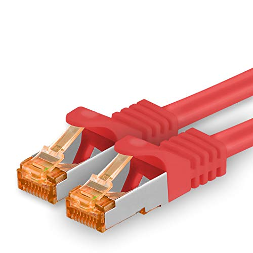 1aTTack.de 20m - Cat.7 Netzwerkkabel Rot - 1 Stück Gigabit Ethernet LAN Kabel 10000 Mbit s Patchkabel Cat7 Kabel S FTP PIMF Schirmung LSZH Cat.7 Rohkabel Rj45 Stecker Cat 6a - 1 x 20 Meter