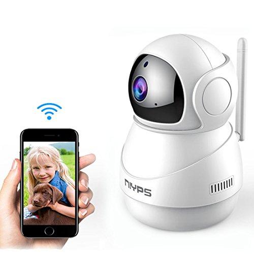 Wlan Wifi IP Kamera Weitwinkel, NIYPS 1080P Full HD kleine Überwachungskamera mit Bewegungserkennung und Infrarot Nachtsicht, 2 Wege Audio, Innen Sicherheitskamera für Haustier Babyphone und Nanny Cam -