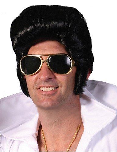 wigstyle Factory Direct Verkauf Elvis Presley Perücke Großhandel von schwarz Herren Kurz Perücken spezielle Netzteil Elvis Presley Perücke