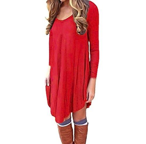 V-Ausschnitt Kleid, Huihong Frauen Langarm Abend Party Kleid LäSsig Lose Minikleid T-Shirt Kleid Cocktail Rock (Rot, XL) (Patch-Ärmelloses T-shirt)