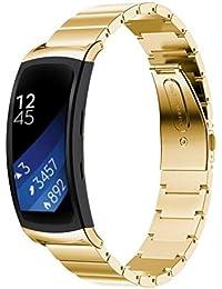 Correa de reloj, happytop acero inoxidable pulsera correa de muñeca relojes de repuesto para Samsung Gear Fit 2sm-r360, hombre, dorado, S