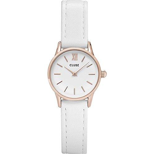 Cluse La Vedette Damen-Armbanduhr 24mm Armband Leder Weiß Quarz Analog CL50030