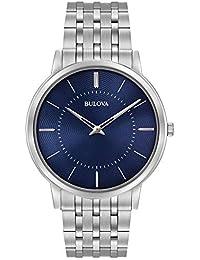 Bulova 96A188 - Montre-bracelet de créateur - pour homme - ultra-fine - bracelet en acier inoxydable - cadran bleu