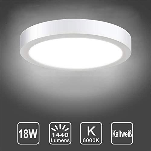 Deckenleuchte Rund 18W LED Panels Deckenlampe 6000K Kaltweiß für Wohnzimmer, Schlafzimmer, Kinderzimmer, Küche, Flur, Keller (Nicht Dimmbar)