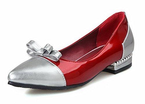 AllhqFashion Damen Ziehen Auf Pu Leder Gemischte Farbe Spitz Zehe Pumps Schuhe Rot