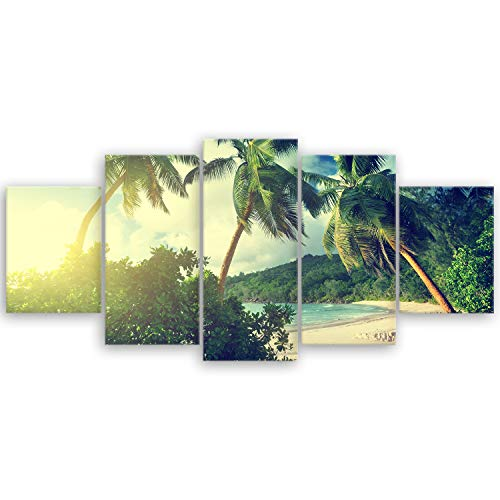 ge Bildet® hochwertiges Leinwandbild XXL - Sonnenuntergang am Strand Takamaka, Mahé - Seychellen - 150 x 70 cm mehrteilig (5 teilig) 1946III