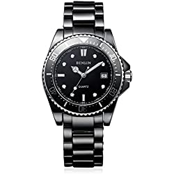 binlun Herren Wasser resistent Japanisches Quarz-98ft Keramik Uhren