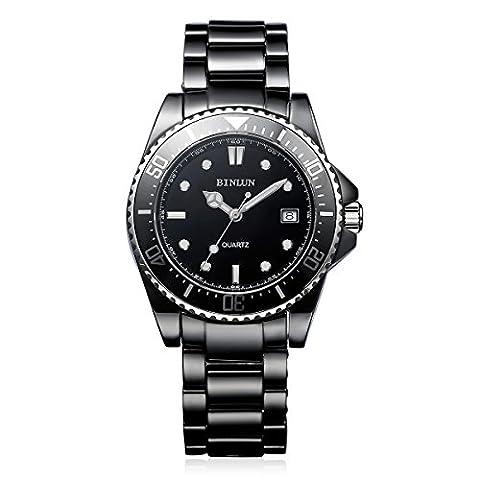 binlun hommes de résistant à l'eau sous-marin 98ft à quartz