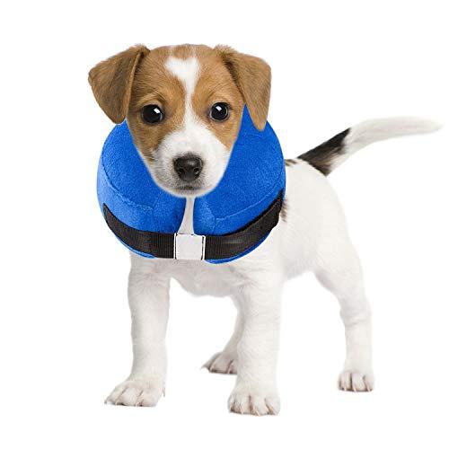 Ducomi Collare Protettivo Gonfiabile per Cane e Gatto per Recupero Postoperatorio dell'Animale Domestico - libertà nei Movimenti e Vista - Previene l'Infezione da Graffi, Leccate e Morsi (Blue, XS)