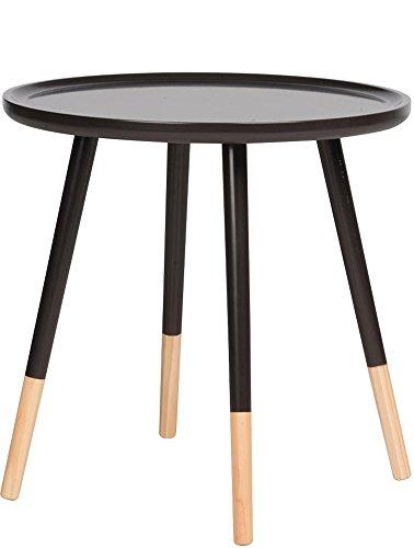 Retro Design Tisch Rund Holz Beistelltisch Couchtisch Sofatisch Ø 48 cm - Farbe Schwarz (Home Eleganz Beistelltisch)