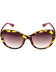 DUBI Damen Sonnenbrille Kunststoff Rahmen Women Sunglasses Anti-UV Brille Damenbrillen Brillenetui Brillenbeutel - Braun Gläser und Gelb Leopard Rahmen