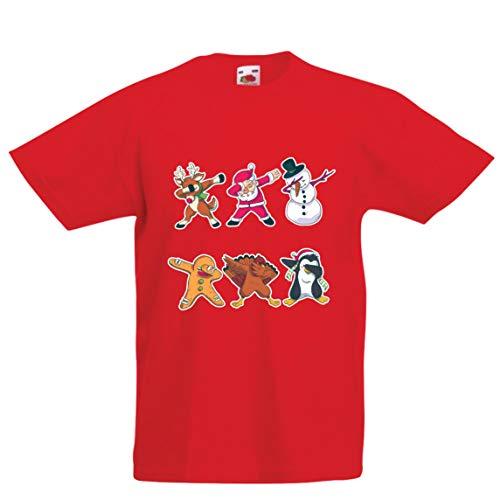 lepni.me Kinder Jungen/Mädchen T-Shirt Weihnachts Dab - Dabbing Weihnachtsmann-Rotwild-Schneemann (7-8 Years Rot Mehrfarben)