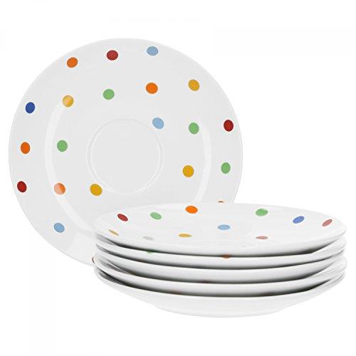 Van Well Porzellan 6er Geschirr-Set Serie Capri | weiß mit Dekor | Artikel wählbar, Service Serie Capri:Untertasse 16cm Eine Untertasse