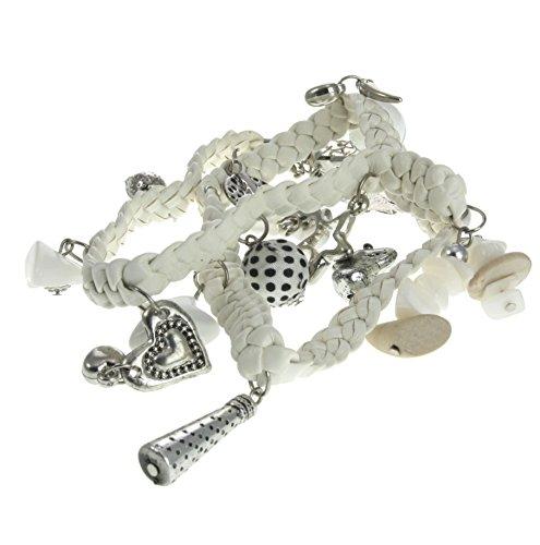 Bracciali intrecciati a fascia bianca - bracciale in ecopelle con pendente a cuore - gioielli con charm