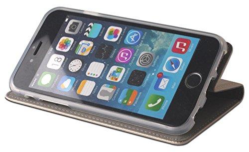 Smart Magnet Premium Flip Cover Schutz Hülle Handy Tasche Etui Case für Apple iPhone 6 / 6s in Blau Gold Goldfarben