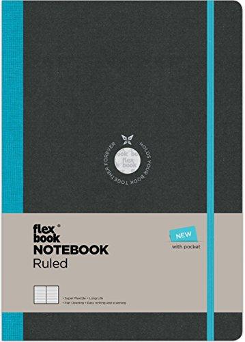 Flexbook–Taccuino, formato tascabile, 17x 24cm, con 192pagine a righe, colore: nero/blu.