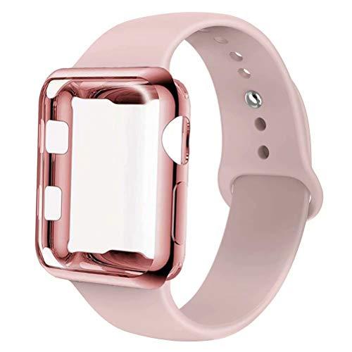 INZAKI Kompatibel für Apple Watch Armband mit Hülle 38mm,Soft Silikon Classic Sportarmband Ersatz Uhrenarmbänder mit Displayschutz Schlankes case für iWatch Series 3/2/1,Sport,Edition,S/M,M/L,Sandrosa