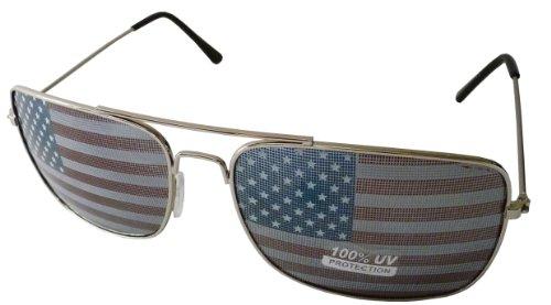 Super Emporium Klassische Aviators Art-Designer-Sonnenbrille mit amerikanischer Flagge Drucken Inspired EIN Gold