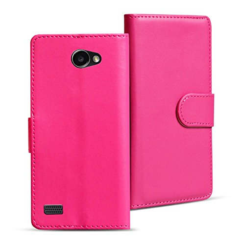LG Bello 2 Cover Schutzhülle im Bookstyle aufklappbare Hülle aus PU Leder Farbe: Pink