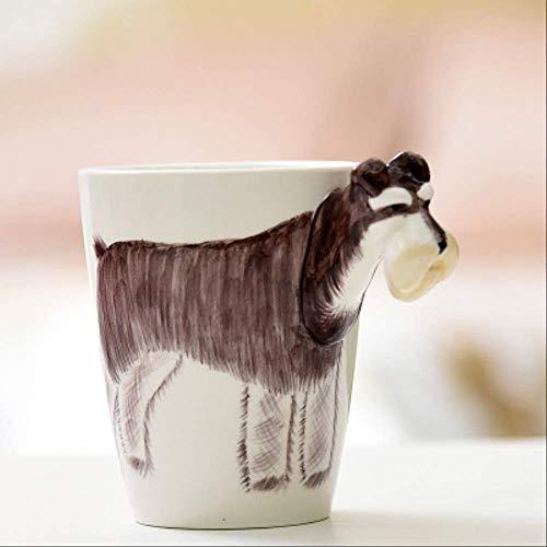 KYSM 3D Stereo handgemalte Keramik Becher Tier Cartoon Cup gemalte Kaffeetasse 400ml Schnauzer