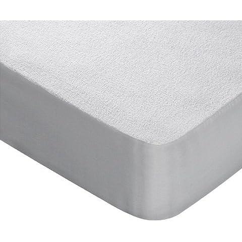 Bertha hogar - Protector de colchón de rizo impermeable(90x200 cm, cama 90), color blanco