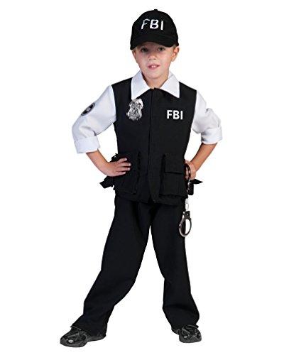 Fbi Jungen Für Kostüm (Kostüm FBI Agent Collin Kind Größe 152 Kinderkostüm Jungen Geheimagent Polizist Uniform Berufe Schwarz Karneval Fasching)