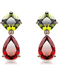 YELLOW CHIMES Floral Drop Multicolor Swiss Cubic Zirconia 18K Gold Plated Earring for Women