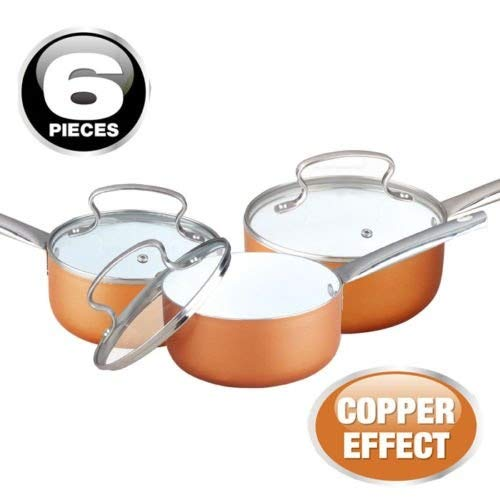 6PC COPPER EFFECT ALUMINIUM NON STICK COOKWARE SET FRYING PAN SAUCEPAN GLASS LID