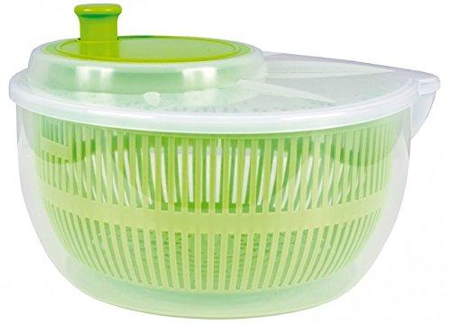 Salatschleuder - Ø 23 cm - transparent / grün - Salat-Karussell - Salattrockner - Gemüseschleuder - Salatschale - Salatschüssel - Schüssel - Sieb - Küchensieb