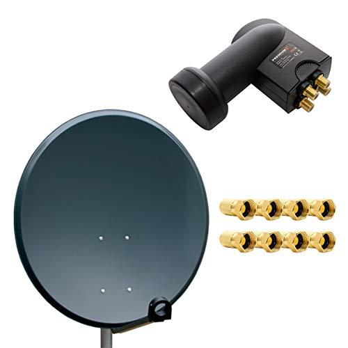 PremiumX Digital SAT Anlage 80cm ALU Schüssel Spiegel Antenne Anthrazit Quad LNB PXQS-SE 0,1dB für 4 Teilnehmer + 8 F-Stecker 7mm vergoldet