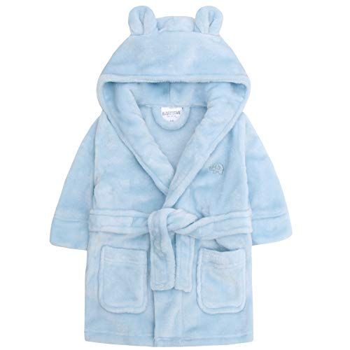 Lora Dora Fleece-Bademantel mit Kapuze für Jungen, Größe 6-24Monate Gr. 12-18 Monate, Blue - Elephant
