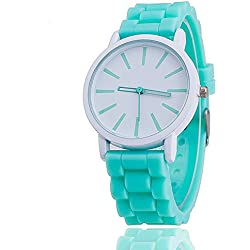 11 Colours Ladies brand GENEVA Watch Classic Gel Silicone Jelly watch (Mint Green + White Face)