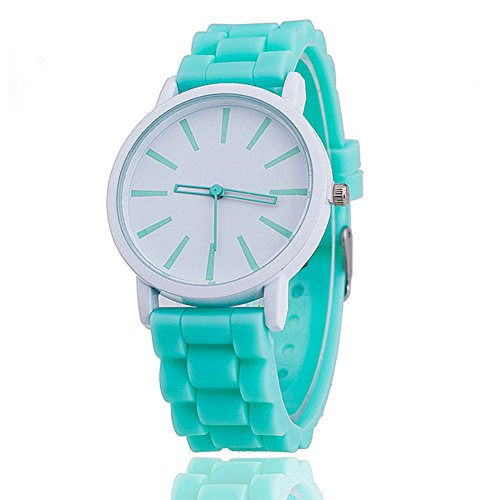 Price comparison product image 11 Colours Ladies brand GENEVA Watch Classic Gel Silicone Jelly watch (Mint Green + White Face)