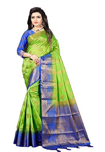 RAJ SHREE FASHION Banarasi Silk Saree Frauen indische Hochzeit ethnischen Sari & Unstitch Bluse Stück Sari de-02 -
