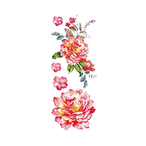 Kostüm Muster Bibel - Blume Tattoo Sticker Damen Brust Bauch Kostüm Studio Rose Pfirsich Pfingstrose Tattoo Sticker 3Pcs-13 90 * 190MM