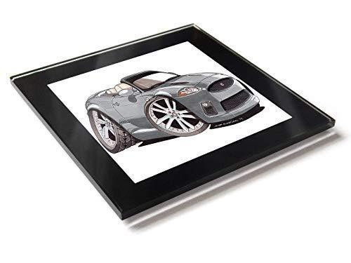 Koolart - Posavasos convertible de cristal con caja de regalo para coche Jaguar XKR, plata, 10 cm x 10 cm