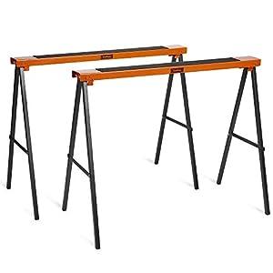 VonHaus Caballete Doble 2 Piezas – Diseño Plegable – Ligero Con Asa De Transporte para su Portabilidad – Superficie de Trabajo No Deslizable
