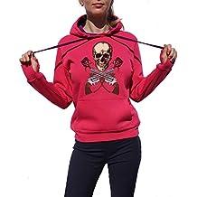 KrisTalas Sudadera con Capucha Mujer Skull Skeleton Hipster Vintage Skull tee Revolvers Red Roses Hard Rock