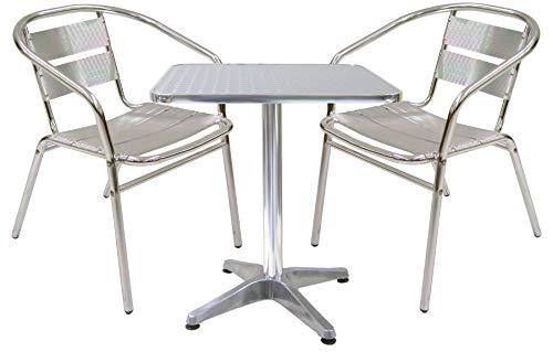 Set completo salotto alluminio 2 sedie e tavolo per casa balcone bar