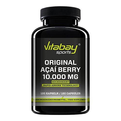 Original Açaí Berry 10000 mg - Energie und Abnehmen - 120 Kapseln - Acai Fatburner - Schlank - Diätpille - schnell abnehmen - Fettverbrennung (Vitamin E Pillen 10000)